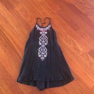 Sexy Flowy T Strap Embroidered Boho Tank Top Sz M